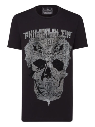 PHILIPP PLEIN טי שירט בצבע שחור דגם ROUND NECK SS SKULL AND PLEIN