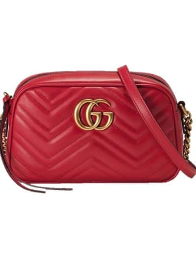 GUCCI תיק בצבע אדום דגם Marmont small matelassé leather