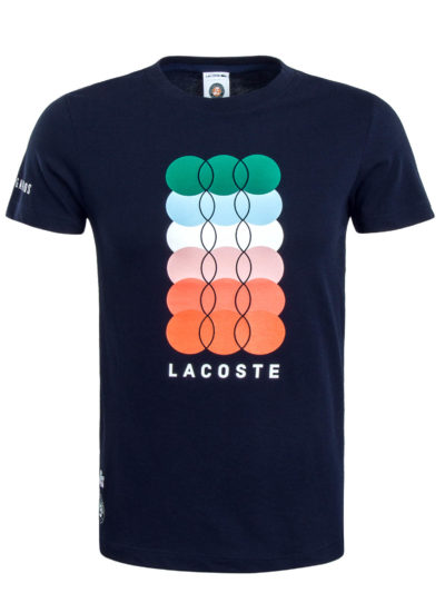 LACOSTE טי שירט בצבע כחול דגם COLORFUL