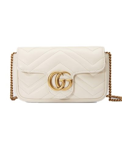 GUCCI תיק בצבע בז' דגם Marmont small matelassé leather