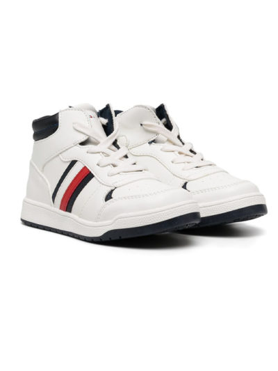 TOMMY HILFIGER נעל בצבע לבן דגם SNEAKERS ALTE BAMBINO *מבצע OUTLET*